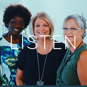 diverse group of our team of Rise Church women who are eager to listen and pray with you